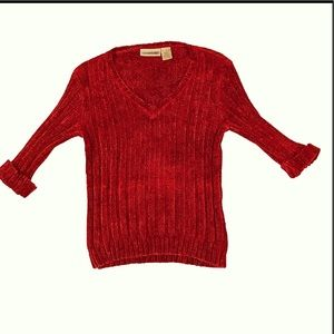 Canyon River Blue, red 3/4 sleeve knit sweater